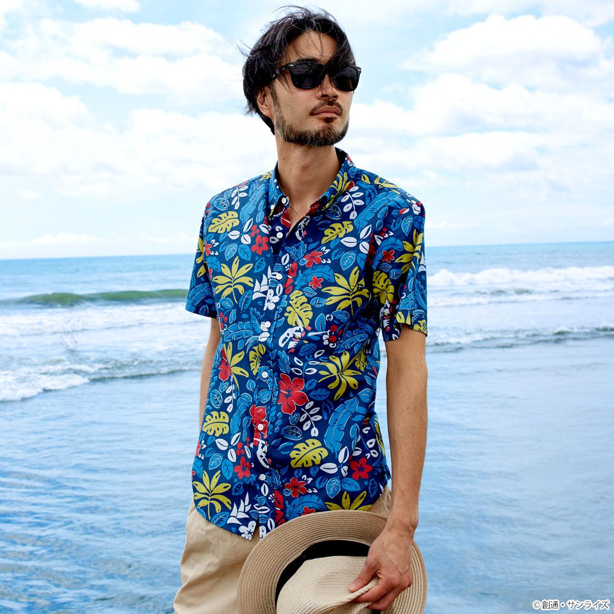 STRICT-G × PAIKAJI ボタンダウン アロハシャツ ボタニカル・アース柄(ガンダム)