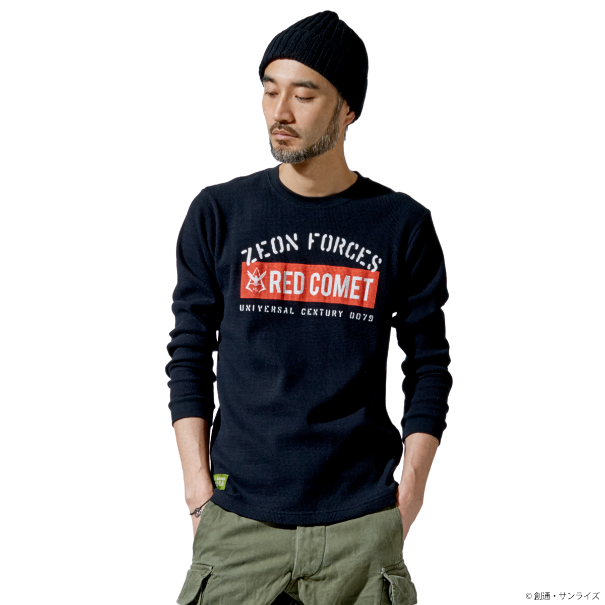 STRICT-G.ARMS『機動戦士ガンダム』ワッフル長袖Tシャツ RED COMET