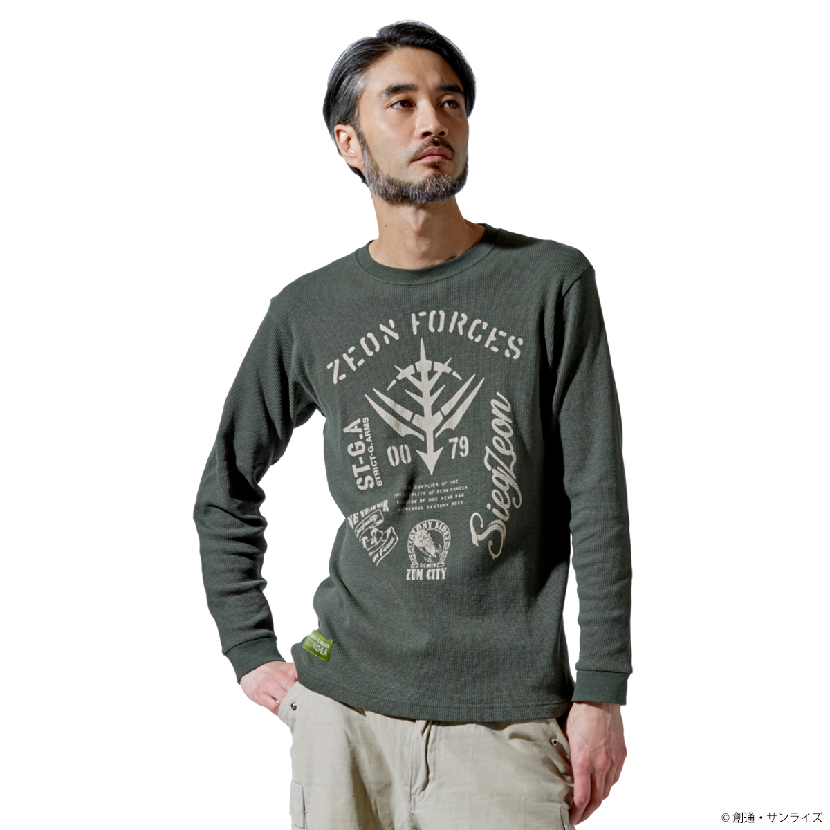 STRICT-G.ARMS『機動戦士ガンダム』ワッフル長袖Tシャツ ZEON FORCES