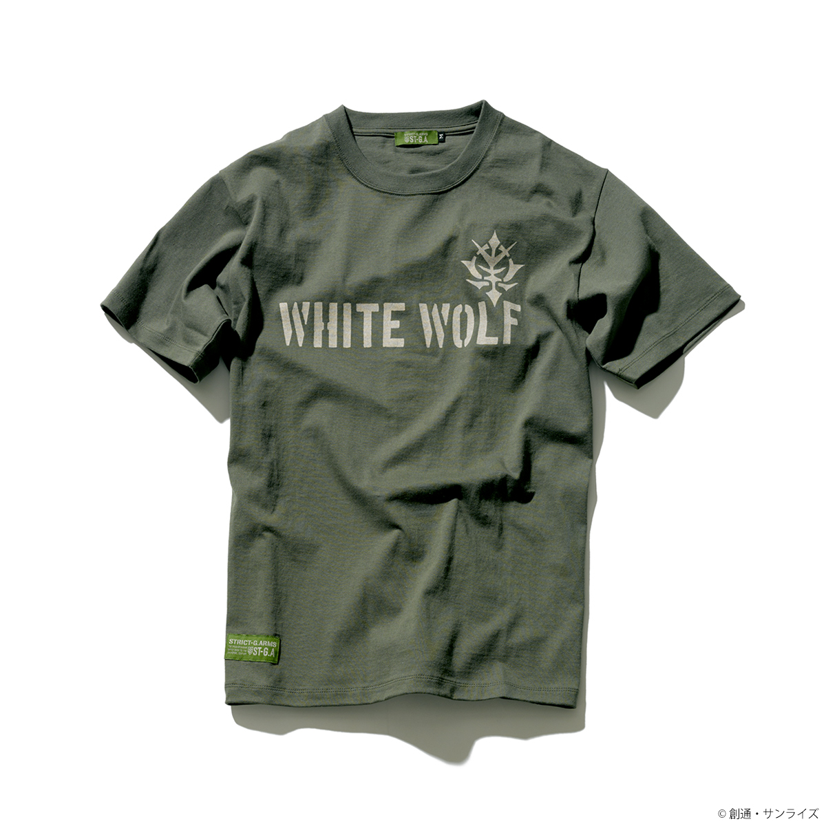 STRICT-G.ARMS『機動戦士ガンダム』 Tシャツ WHITE WOLFロゴ
