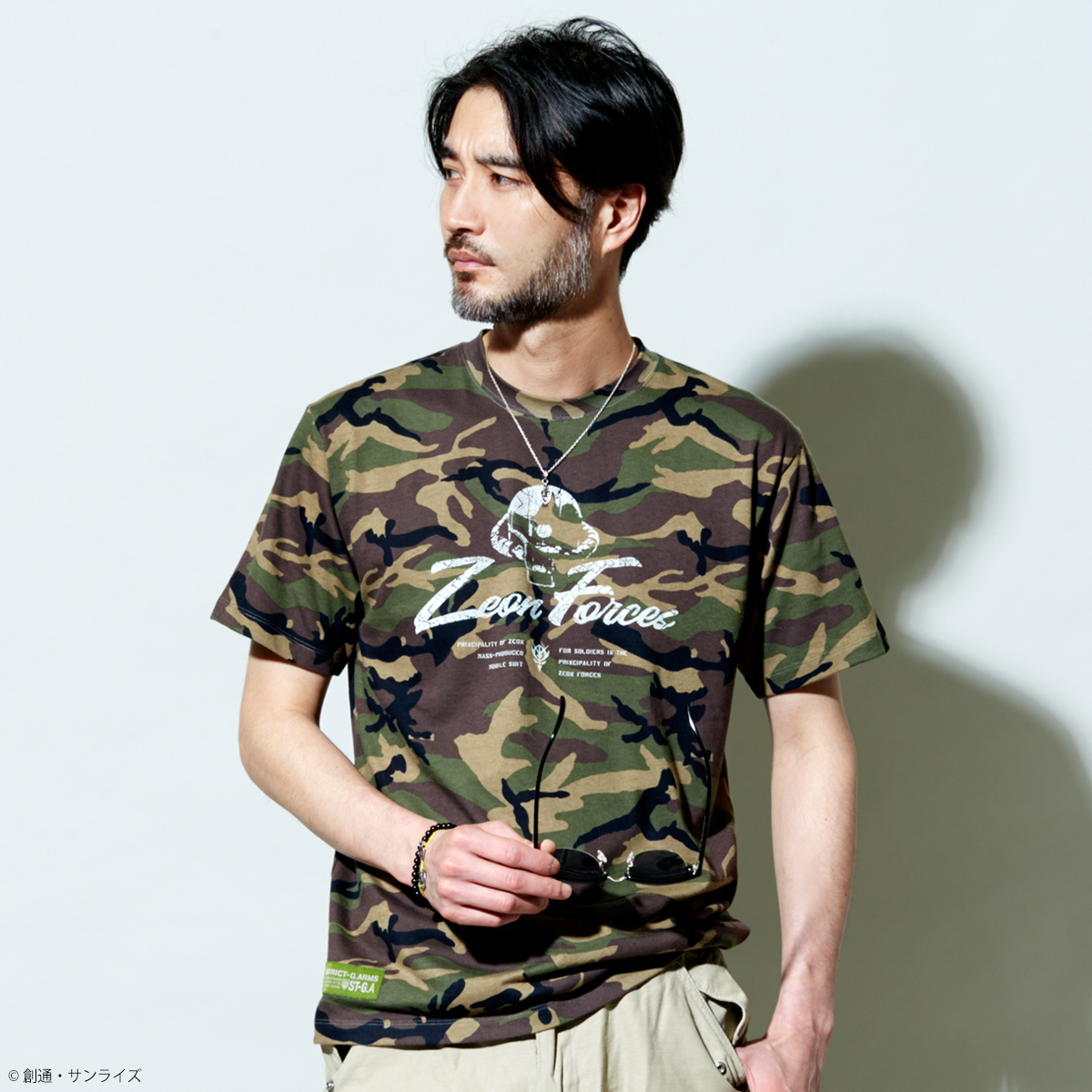 STRICT-G.ARMS『機動戦士ガンダム』 カモフラージュ総柄Tシャツ ZEON FORCES