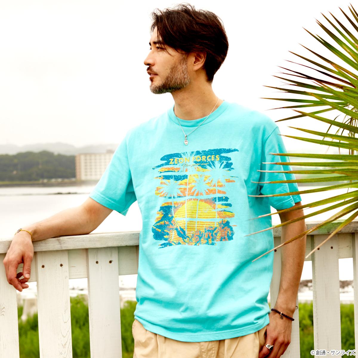 STRICT-G『機動戦士ガンダム』 サーフコレクションTシャツ サンセットジオン軍水陸両用MS柄